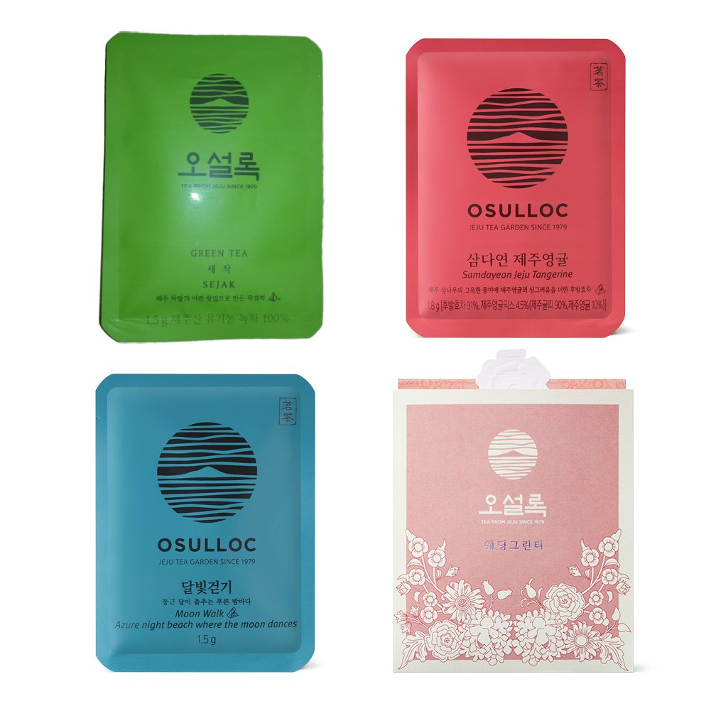 Osulloc Pyramid Tea Bag Collection - 4 Products Blended Organic Green Tea (Sejak, Samdayeon Jeju Young Tangerine, Moon Walk, Wedding) (Each Product X 4ea) by O'sulloc