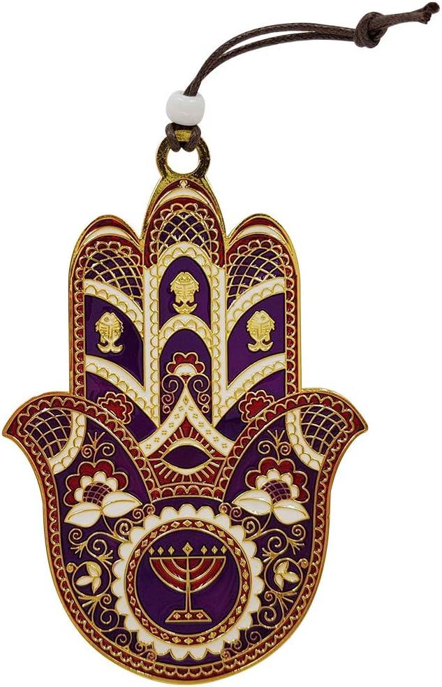 TALISMAN4U Purple Enamel Hamsa Wall Hanging Home Blessing Decor Evil Eye Protection Amulet (Purple & Gold)