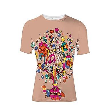 6a30f2c385 Amazon.com: T-Shirt Short Sleeves,Music Notes Harmony Bloom Rhythm ...