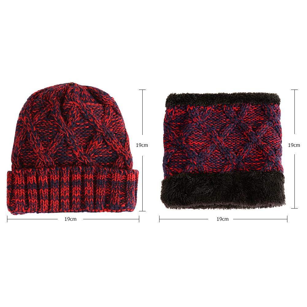 Diamondo 2pcs//set Cute Kids Girls Winter Warm Fleece Kintted Beanie Hats Scarf Gift