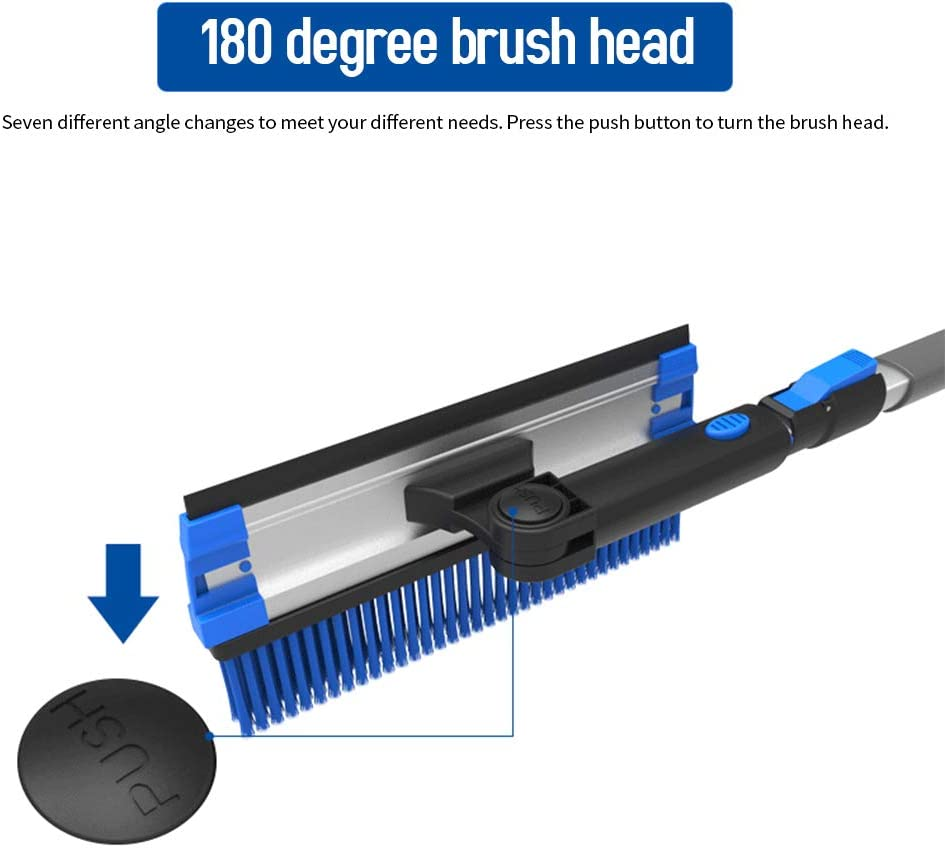 Car Truck SUV Winter Remover Walmeck Extendable Snow Brush with Auto 180 Degree Squeegee Ice Scraper for Car Windshield Cleaning /& Winter Deicing Snow Removal Scraper