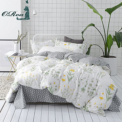 ORoa Grey Duvet Cover Set with 2 Pillow Shams for Kids Tree Flower Chrysanthemum Pattern 3 Piece Bedding Set(Full/Queen,Style (Simple Flowers Set)