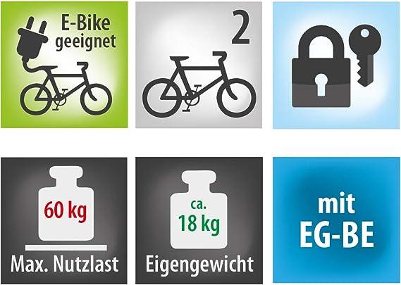 Eufab 12010las Fahrradträger Kupplungsträger Poker F Ehemals Raven Klappbar Für 2 Räder Für E Bikes Geeignet Auto