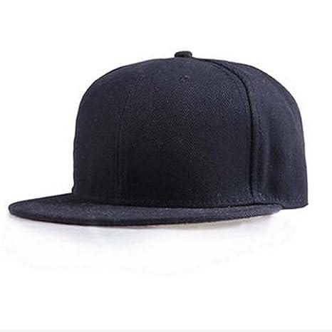 Tongshi Moda Unisex Plain Snapback Hats Hip-Hop ajustable Gorra de béisbol (Negro)