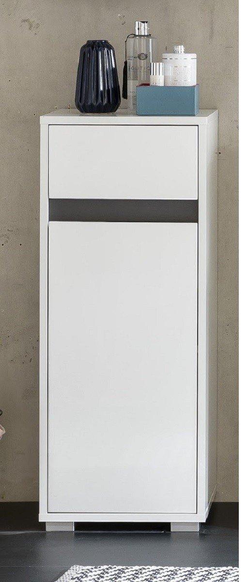 Dreams4Home Standschrank 'Talu VI' - Schrank, Badschrank, Badezimmerschrank,1 Tür, 1 Schubkasten, 1 Einlegeboden, B/H/T: 35x89x31 cm, FSC-K: 70%, Badezimmermöbel, Weiß Dekor / Weiß Hochglanz Lack, Absetzungen in Grau Dekor, Made in EU 1 Tür Badezimmermöbel