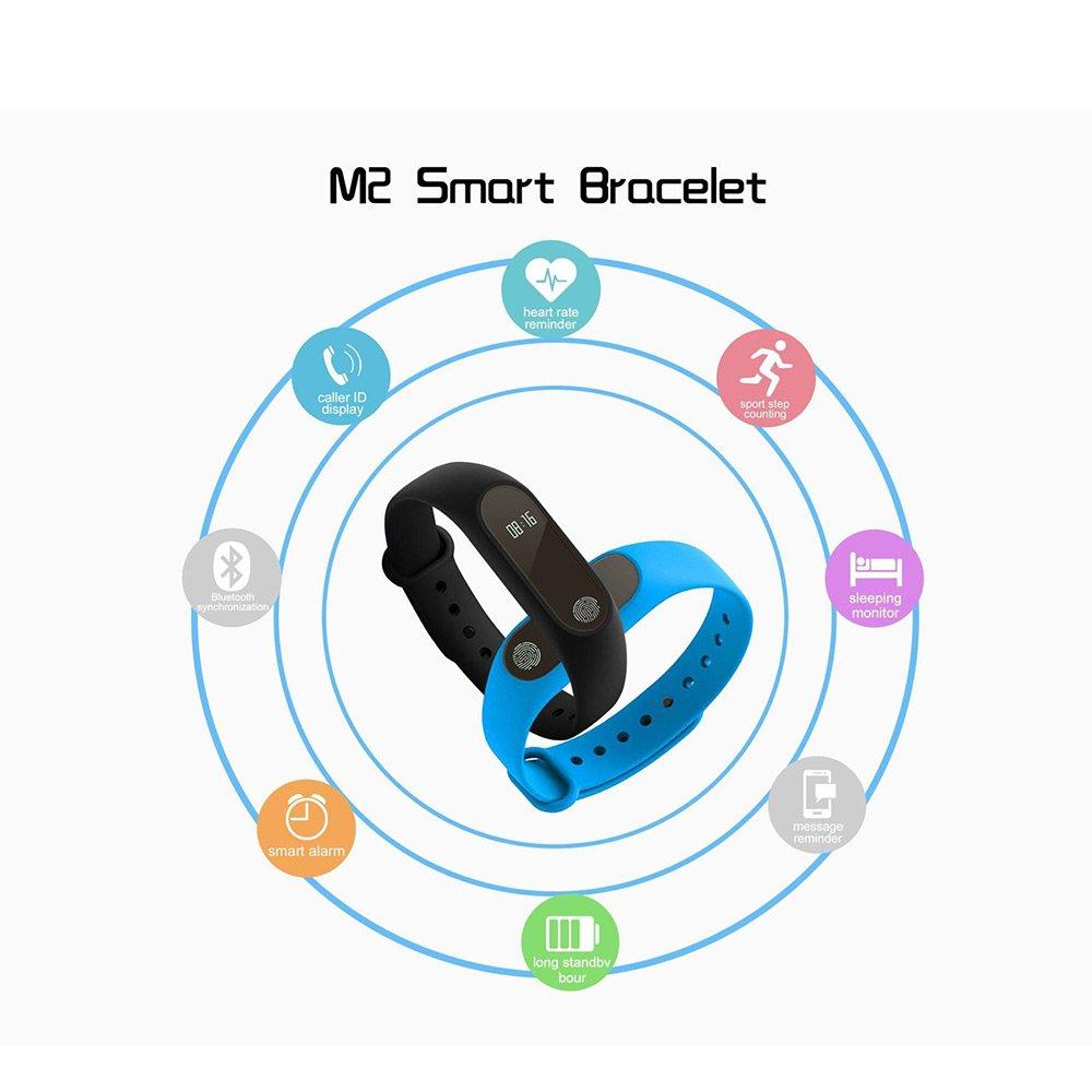 Podómetro y actividad Tracker M2 pulsera inteligente impermeable IP67 Clasificación, monitor de frecuencia cardiaca, paso y Contador de Calorías, ...