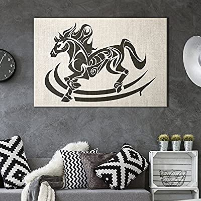 Canvas Wall Art - Horse Pattern on Vintage Background - Giclee Print Gallery Wrap Modern Home Art Ready to Hang - 12x18 inches