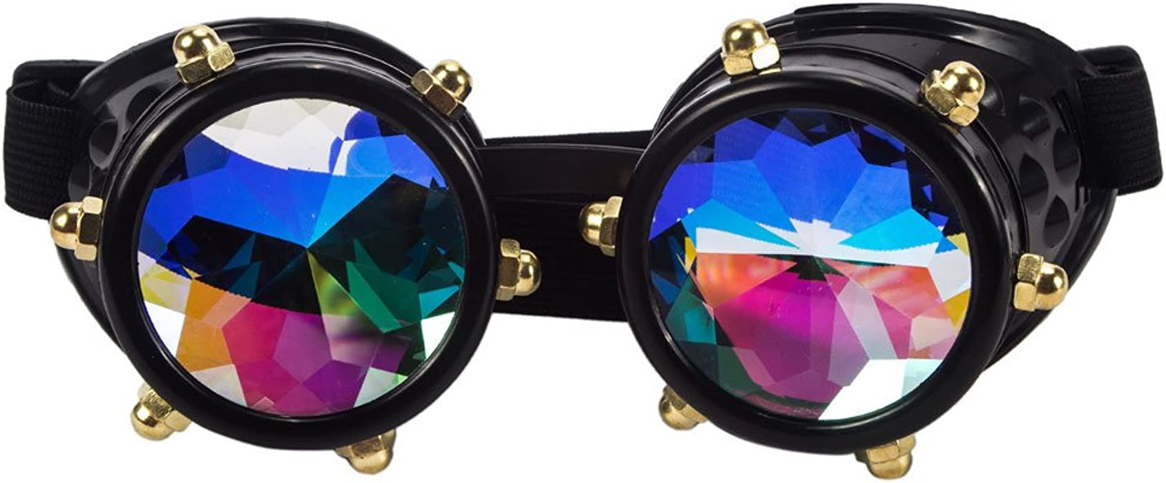 99e762f76b4 Retro Vintage Victorian Steampunk Goggles Glasses Welding Cyber Punk Gothic  Cosplay - Kaleidoscope Prism Real Crystal Rainbow Lenses Goggles