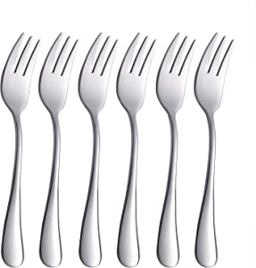 Onlycooker Oyster Forks Set 6 Piece, Silverware Cocktail Fork 18/10 Stainless Steel Flatware Fork Bulk, 5.5-Inch Eating Utensils Sets Cake Fork Service for 6 Mirror Finished, Dishwasher Safe