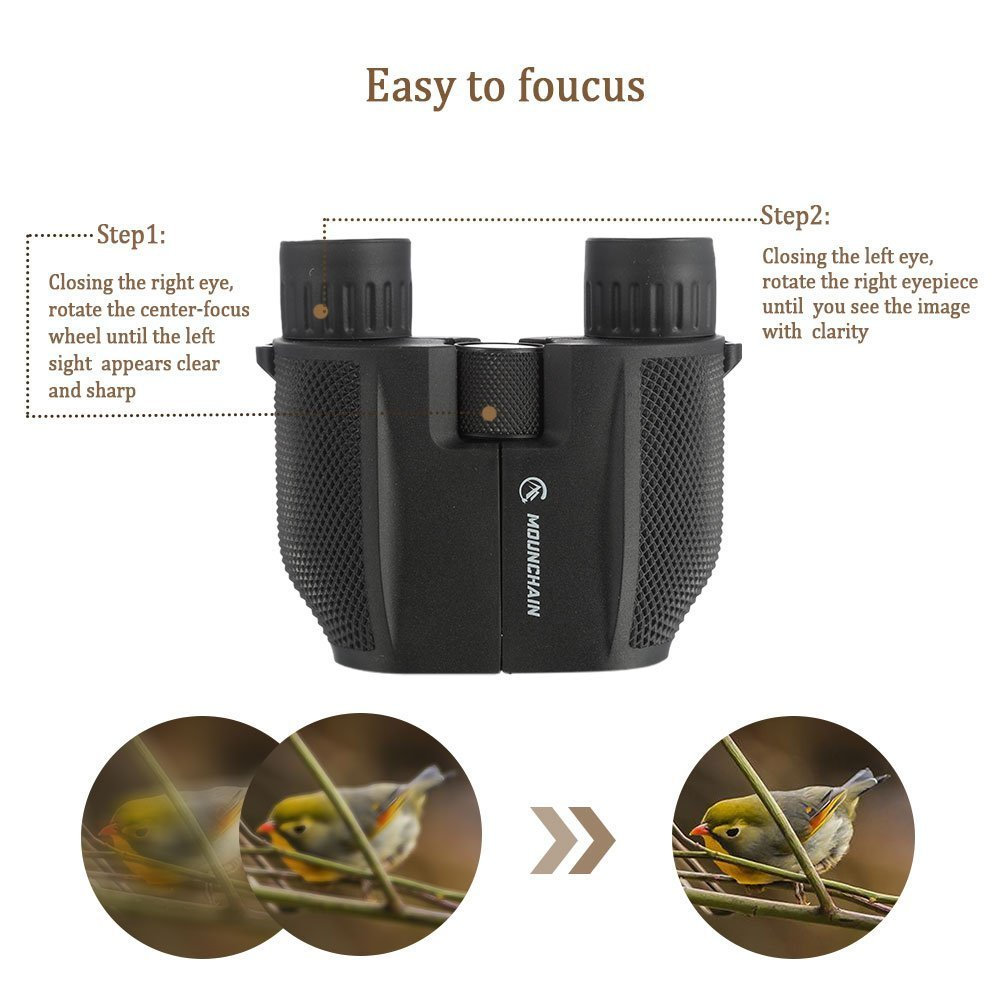 10x25 Compact Binoculars Bird Watching Hunting Concerts High Powered Waterproof Portable Binoculars with Weak Light Night Vision /& Fully Multi-Coated Lens for Outdoor