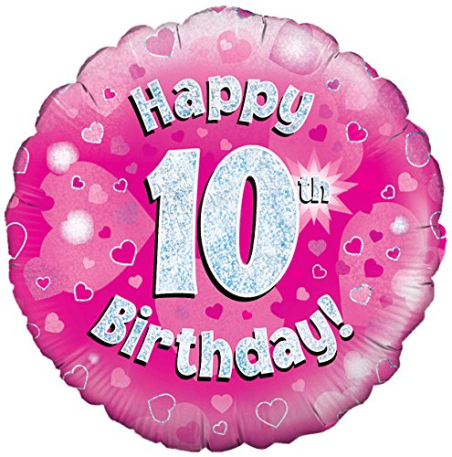 Oaktree Uk 18-inch Happy 10th Birthday Holographic Foil Design Balloons, Pink (Party Supplies Uk)