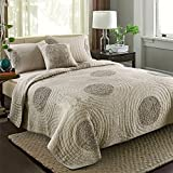 LELVA 3 Pc American Style Cotton Quilt Set 3d Embroidered Bedspreads Set Patchwork Quilt Queen Size - Khaki