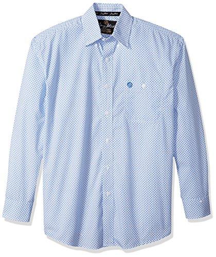 Wrangler Men's George Strait Long Sleeve One Pocket Woven Shirt, Printed White/Blue M