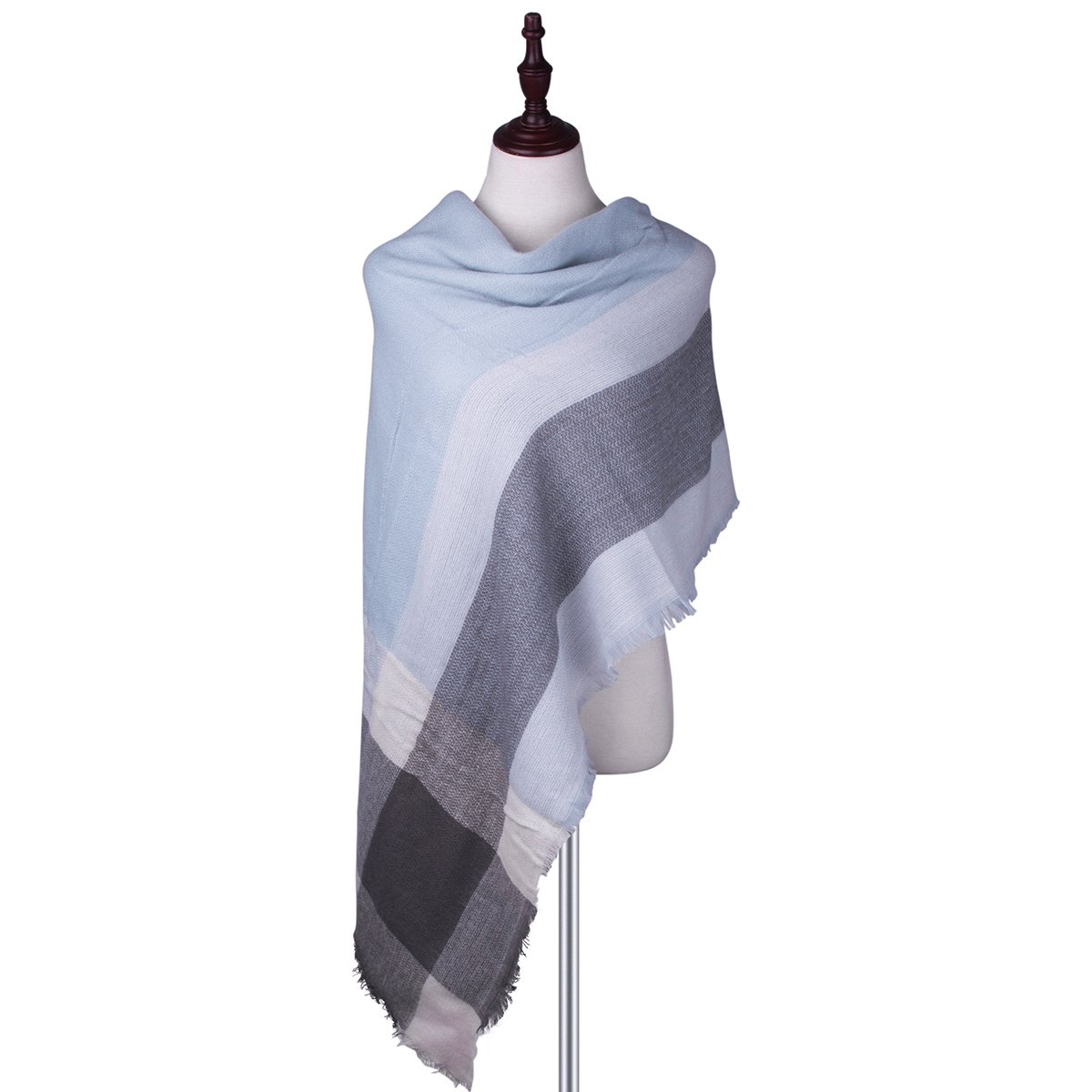Womens Big Square Scarf Multi-Color Plaid Blanket Shawl Long Tartan Shawl (Light grey)