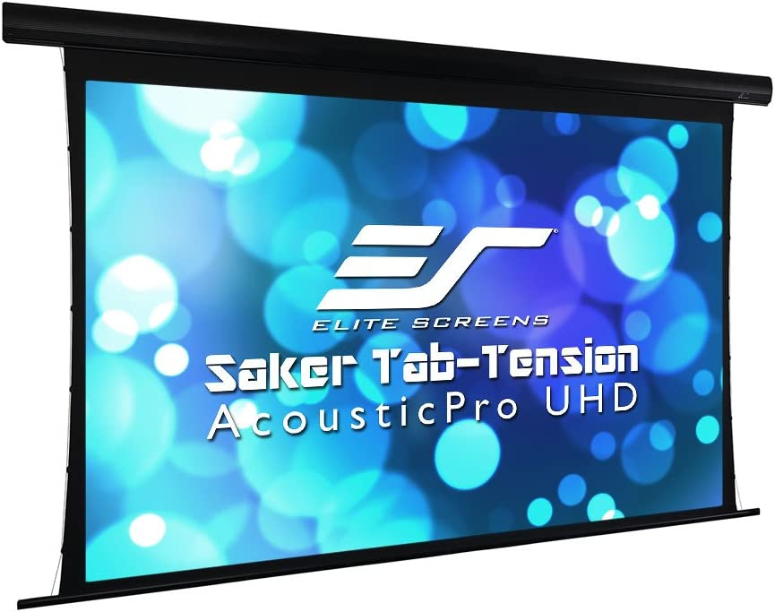 """Elite Screens Saker Tab-Tension AcousticPro UHD Series, 150"""" Diagonal 16:9, 4K/8K Ultra HD Electric Sound Transparent Perforated Weave Drop Down Front Projector Screen, SKT150UH-E12-AUHD"""