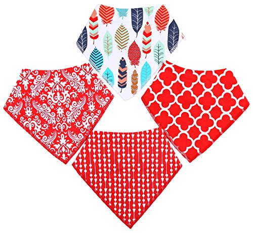 Urban Fox Dog Bandana | Dog Bandanas | Dog Bandana Small to Medium| pet Scarf for Dogs | Puppy Bandana 4 Pack Red Pattern