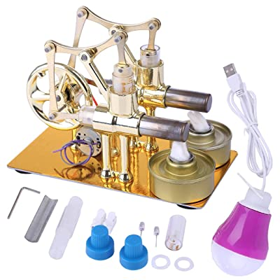 HMANE Metal Hot Double Cylinder Stirling Engine Model Bulb External Combustion Heat Steam Power Physics Science Experiment Engine Model: Toys & Games