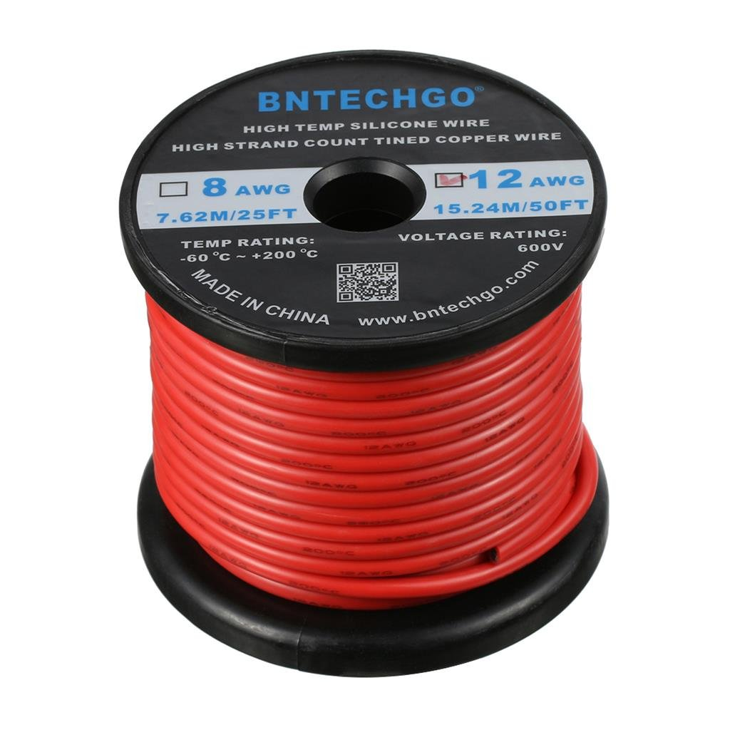 BNTECHGO 12 Gauge Silicone Wire Spool Red 50 feet Ultra Flexible High Temp 200 deg C 600V 12AWG Silicone Rubber Wire 680 Strands of Tinned Copper Wire Stranded Wire for Model Battery Low Impedance bntechgo.com