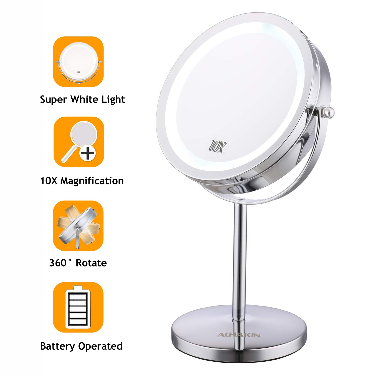 Lighted Makeup Mirror - 7'' LED Vanity Mirror 10X Magnifying Double Sided Swivel Cosmetic Mirror Chrome Finish ALHAKIN by ALHAKIN