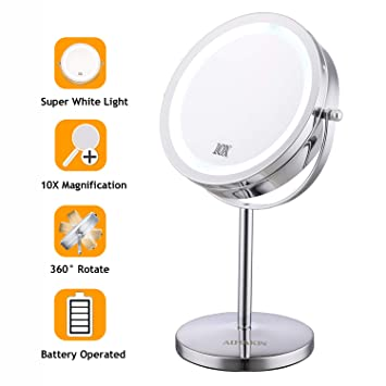 Lighted Makeup Mirror With Magnification.Lighted Makeup Mirror 7 Led Vanity Mirror 10x Magnifying Double Sided Swivel Cosmetic Mirror Chrome Finish Alhakin