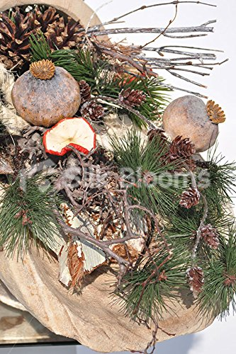Country Charm Lotus Pods Dried Apple Slices in Solid Wood Basket