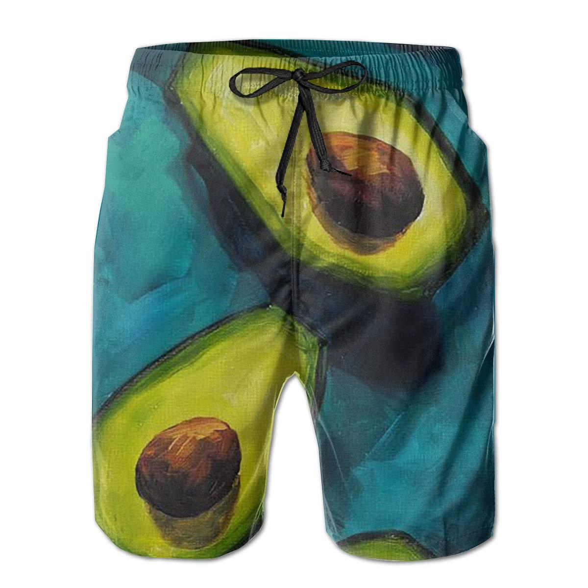 Tyugvvo Oil Painting Avocado Funny Swim Trunks Quick Dry Beachwear Sports Running Swim Board Shorts Mesh Lining
