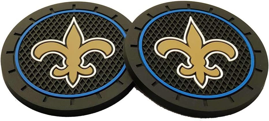 2.75 Inch Team Logo Anti Slip Silicone Car Coasters Fit All Vehicles 2pcs New Orleans Saints Car Cup Holder Mats for NFL Fans
