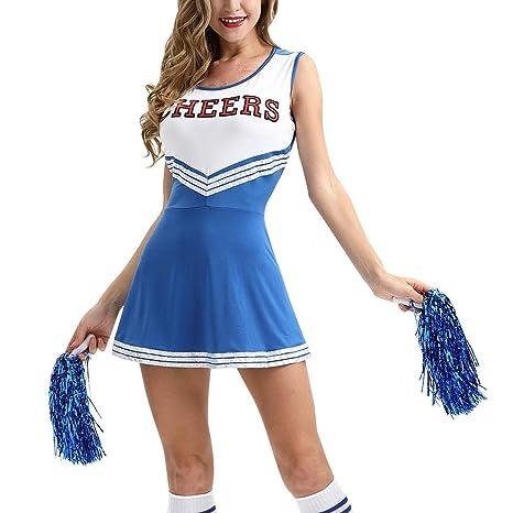 uirend Disfraces Cheerleading Ropa Mujer - Uniformes Cheerleader Disfraz de Animadora con Pompones Niña Actividades Musicales Fiesta Actuación Danza ...