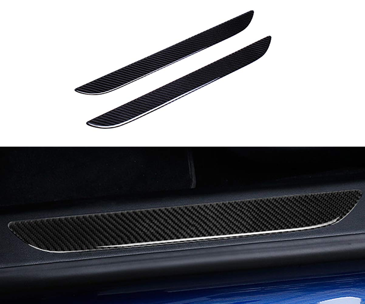 TopDall Car Door Sill Protection Cover Anti-Scratch Real Carbon Fiber Stickers with Polyurethane for Tesla Model S(2 Pieces)