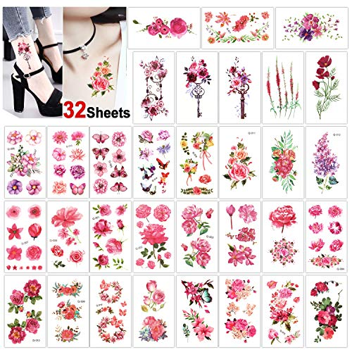 Konsait 32 Sheets Flower Temporary Tattoo for Women Girls Fake Tiny Temporary Tattoo Adult Waterproof Body Art Sticker Hand Neck Wrist- Rose Butterfly Plum Key Lotus Lavender]()