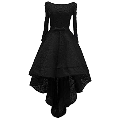 7a01e078d6 Lemai Beaded Lace High Low Long Sleeves Formal Prom Homecoming Cocktail  Dreses Black US 2