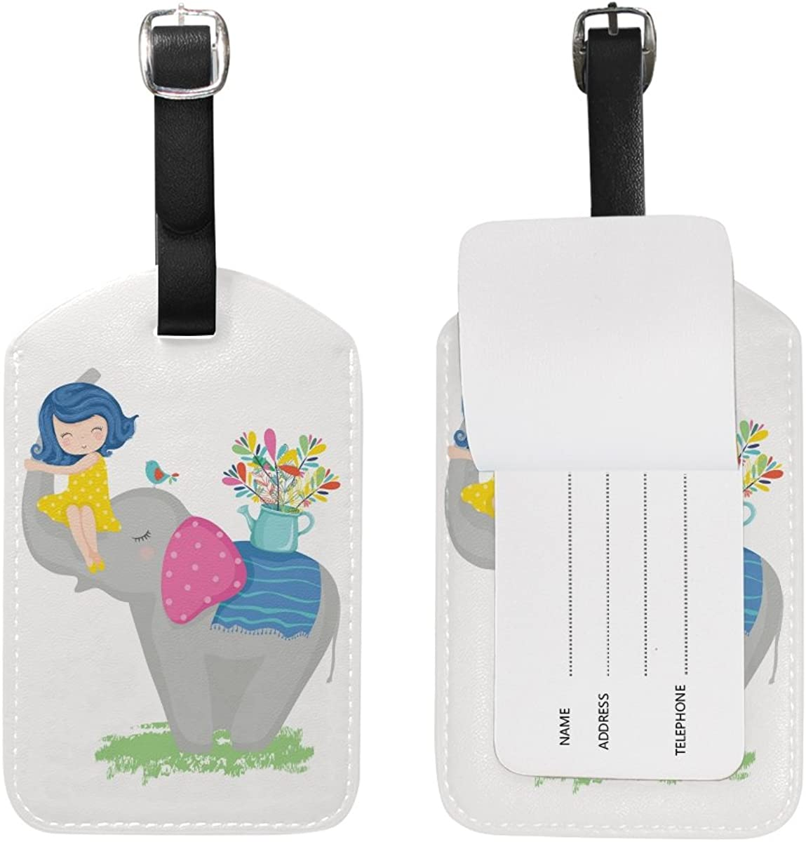 Girl Elephant Travel Luggage Suitcase Label ID Tag PU for Baggage Bag 1 Piece