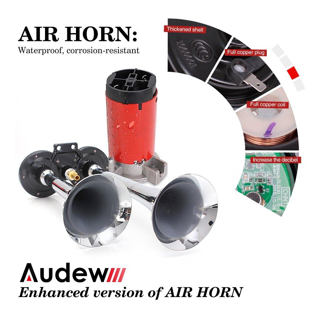 Audew Lufthorn Druckluft Horn Auto Horn mit Kompressor 120DB 12V fü r KFZ LKW Boot
