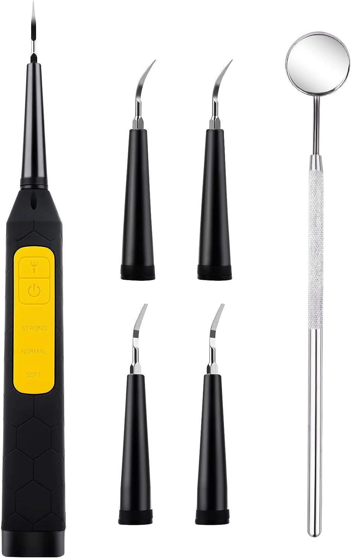 Zahnreinigung Set, Zahnreinigungsset für die Zahnpflege zuhause, 4 Köpfe und 3 Modi, USB-Wieder aufladbar