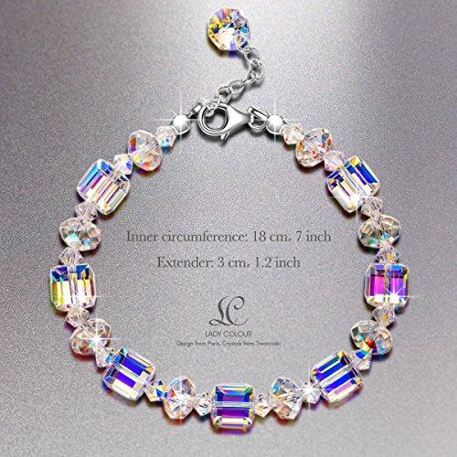 Swarovski Crystal Bracelet, LadyColour A Little Romance Bracelet 925 Sterling Silver Jewelry for Women Anniversary Birthday Women Girls Girlfriend Wife Daughter Mom Friend