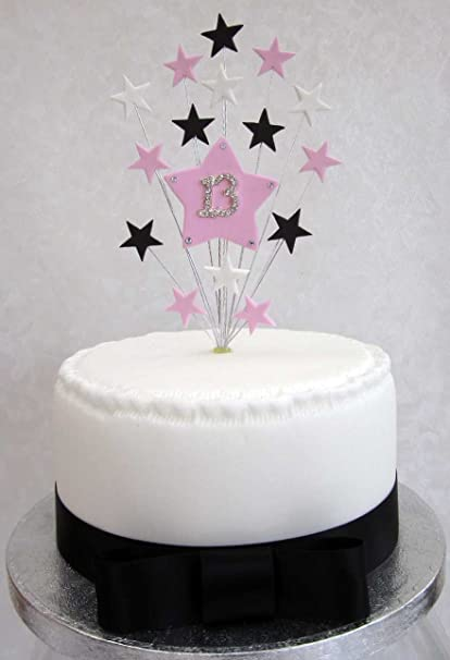 13th Birthday Cake Topper Pink Black And White Stars Suitable For A Small Or
