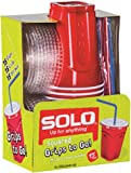 Solo 9 Oz Plastic Cup, Lid, and Straw Combo Pack, 15 Cups (No BPA) (Red)