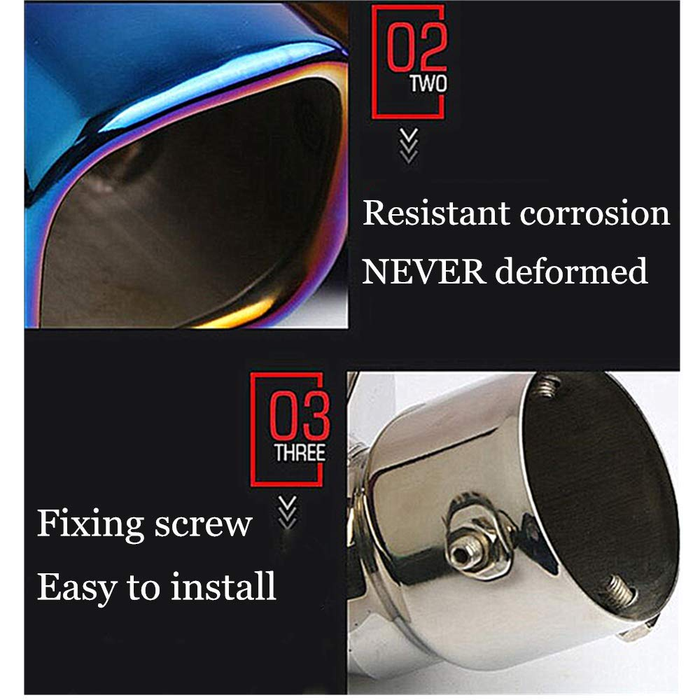 Car Tail Pipe Expander Blue 76MM, Straight Exhaust Silencer Dual Exhaust Tip Muffler Exhaust Tubing 1 PC Muffler Tip