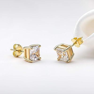 3.0Ct Round Cut CZ Earrings 14K Yellow Gold Simple Diamond Stud