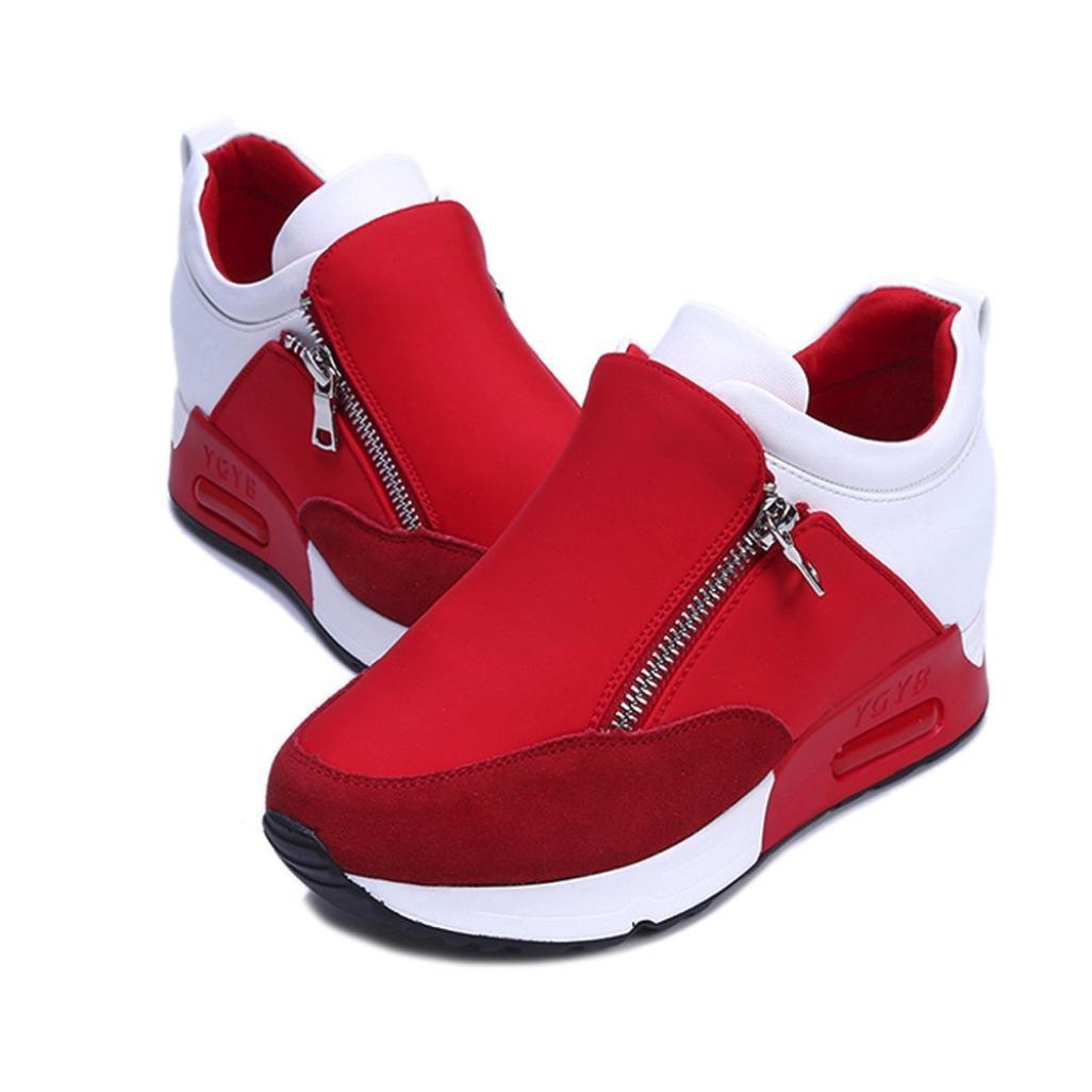 Han Shi Women Fashion Sports Shoes Running Hiking Slip-On Thick Bottom Platform Sneakers (Red, 8)