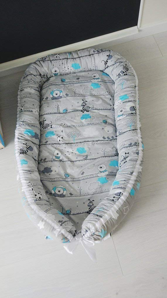Baby nest, baby cocoon, baby nest bed, co-sleeper, pillow bed, baby bed, baby bear print, baby shower gift, baby lounger, travel bed