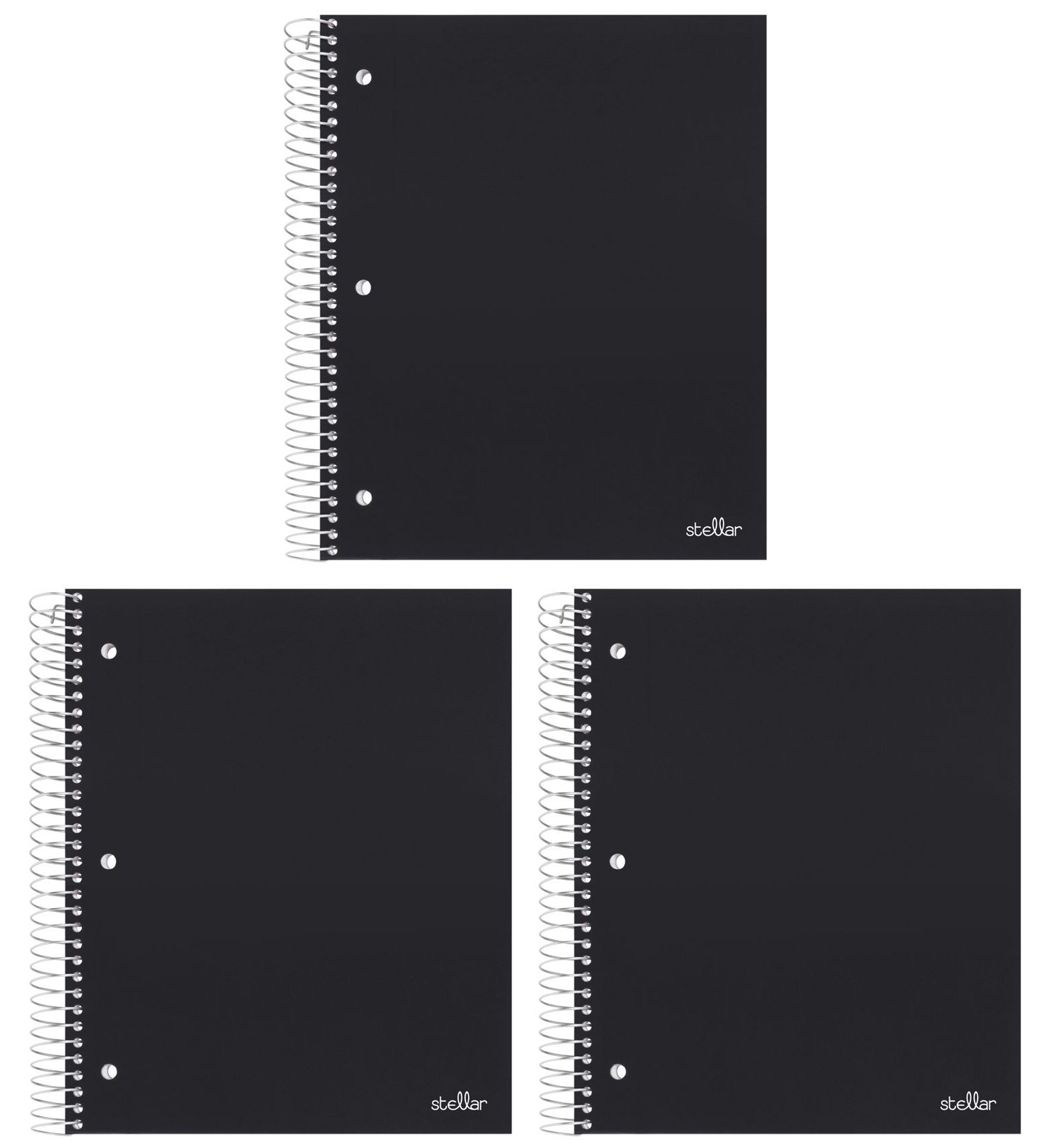 Stellar Wide Ruled Notebook, 1-Subject, 1 Poly Pocket Divider, 8 x 10-1/2-inches, 100 Sheets, 3 Pack (Black)
