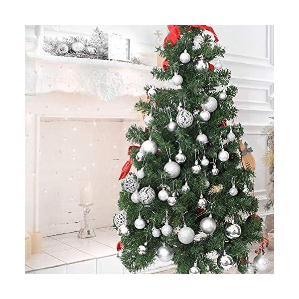 ZFYQ 100Pcs Palle di Natale, Set di Palline Decorative da Appendere per Decorazioni Natalizie per L'Albero, Argento 4 spesavip