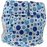 かわいい 水玉 模様 大人用 オムツ カバー フリーサイズ 伸縮性 通気性 蒸れない 横漏れ 防止 (ブルー)