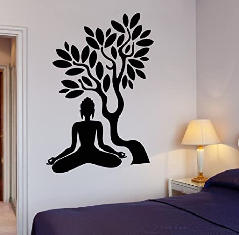 7b440ce2d08 Buy Asmi Collections PVC Wall Stickers Meditating Buddha under a Tree Online  at Low Prices in India - Amazon.in