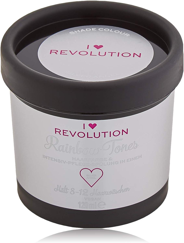 I Heart Revolution Rainbow Tones Silver Angel - Tinte para el cabello semipermanente y acondicionador en uno, lavable con 8-12 lavados de pelo, ...