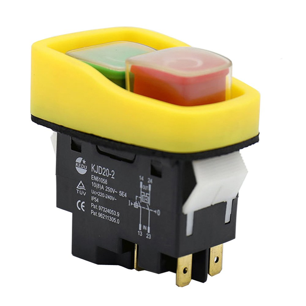 220/250V 10/12A Emergency Push Button Electromagnetic Switch On Off Pushbutton Switches for Electric Power Tools and Machine Tool Equipment KJD20-2 KD
