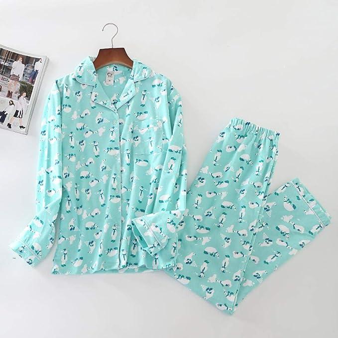 Lindo Pato Rosa 100% algodón Pijama Traje Mujer Lindo Pijama de Manga Larga Muji Invierno Cepillado Invierno cálido Pijama casero-PH-008_M: Amazon.es: Hogar