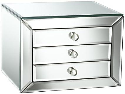 amazon com studio 55d mirrored glass 3 drawer jewelry box home