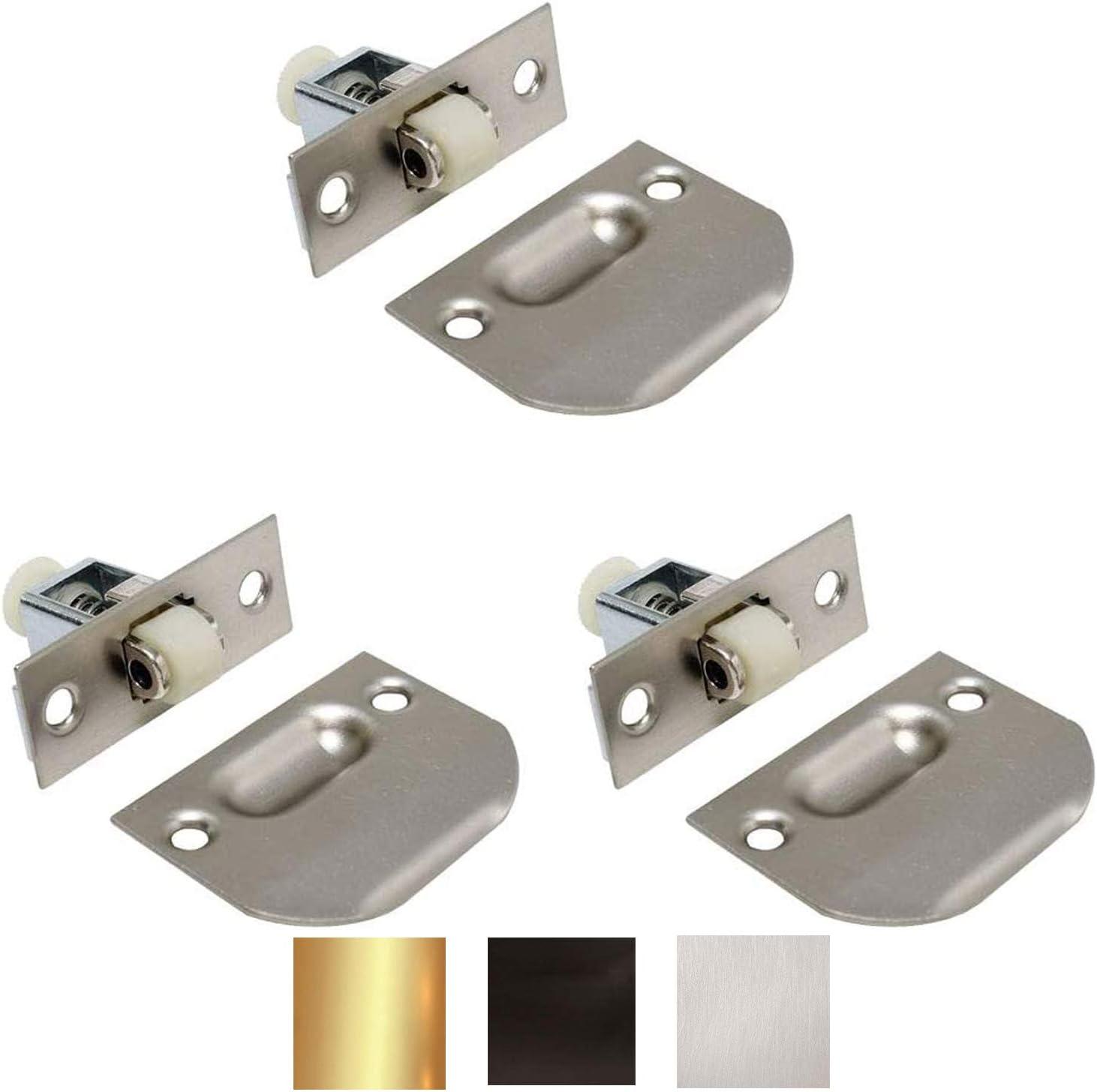 Litepak Adjustable Roller Catch for Furniture Closet Door Cabinet w/Strike Plate & Screws (3 Pack, Satin Nickel)